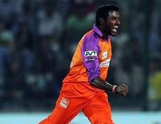 Prashanth celebrating his wicket of Virender Sehwag