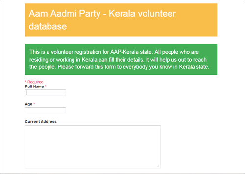 How to become a member of the Aam Aadmi Party in Kerala