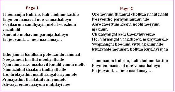 Lyrics of Thoomanjin Kulirilo