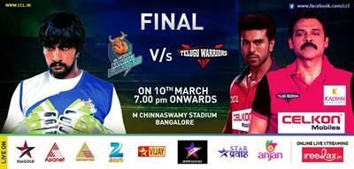 CCL Final 2013: Karnataka Bulldozers vs Telugu Warriors Live on Asianet