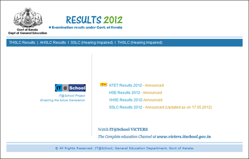 Kerala SSLC Results 2013 on official government websites
