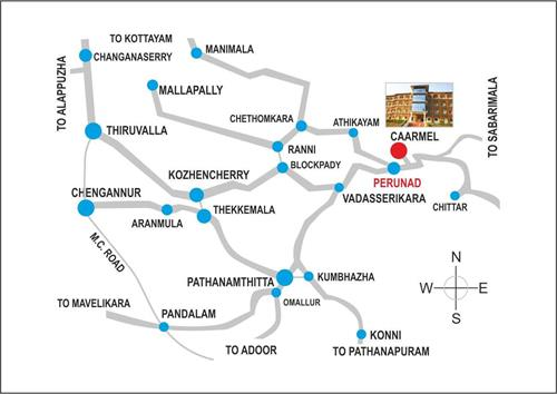 Caarmel Engineering College, Route map