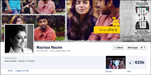 Nazriya Nazim Facebook page crosses 6 lakhs likes officially