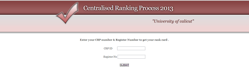 Calicut university Centralized ranking process (CRP) 2013 allotment result published