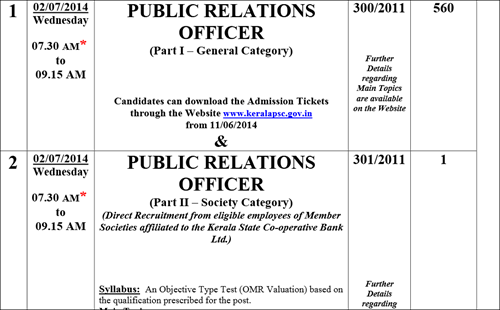 Kerala PSC Public Relations Officer (PRO) exam 2014 Hall Tickets from 11th June