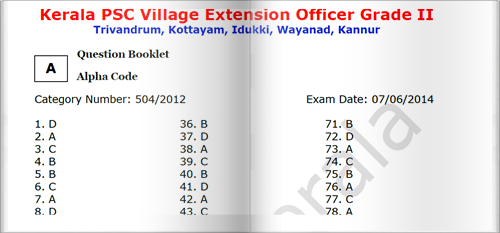 Kerala PSC Village Extension Officer (VEO) Answer Key for Reference
