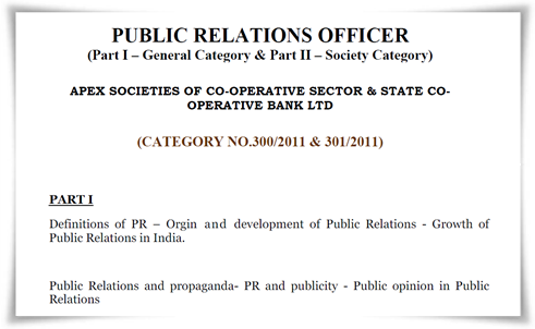 Public Relations Officer (PRO) Exam 2014 Detailed Syllabus