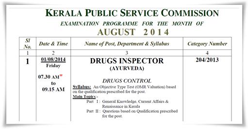Kerala PSC exam calendar August 2014 published