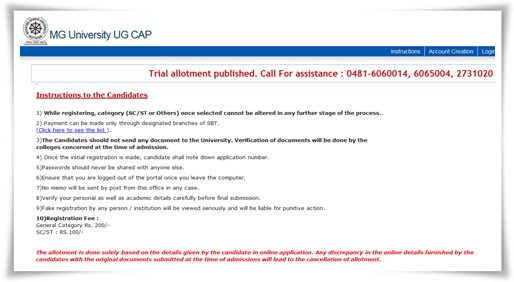 M G University degree trial allotment 2014 published at admission website