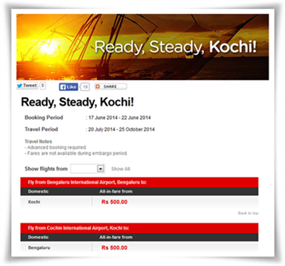 AirAsia online promotion booking offer: Bangalore – Kochi at Rs 500