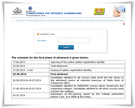 KEAM 2014 trial Allotment to be published on 20th June