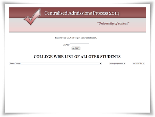 Calicut University 2014 CAP College wise list of allotted students
