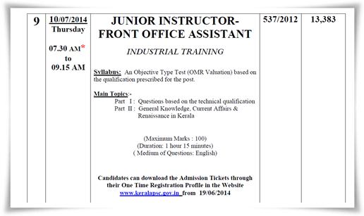 Junior instructor front office assistant 2014 hall ticket at Kerala PSC website