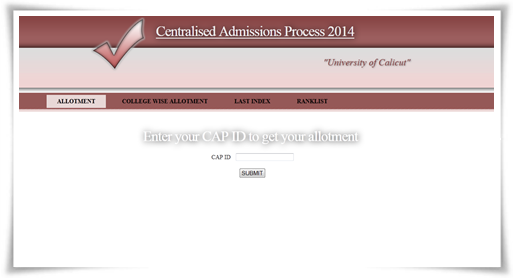 Calicut University Degree Trial Allotment 2014 (revised) Published