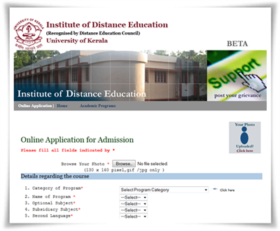 Kerala University distance education MBA admission 2014 Registration started