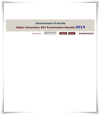 Kerala Plus Two SAY 2014 result published at DHSE website