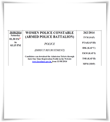 Kerala PSC women police constable 2014 exam syllabus