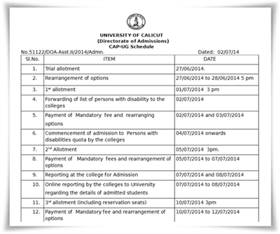Calicut University degree second allotment 2014 to be published today