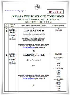 Kerala PSC exam calendar September 2014 published