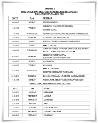 Kerala Plus One Examination 2015 Timetable Published