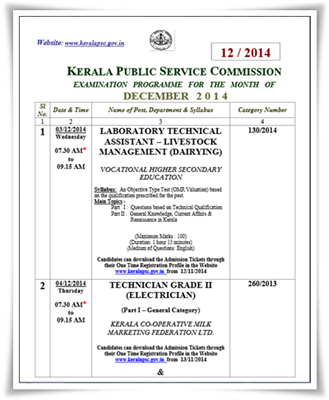 Kerala PSC exam calendar December 2014 published