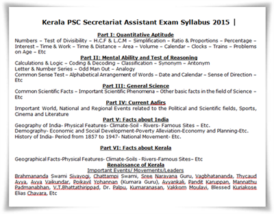 Kerala PSC Secretariat Assistant Exam Syllabus 2015