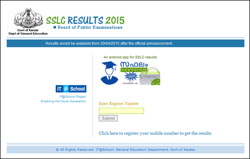 Kerala SSLC Results 2015 to be Published Today at Official Websites