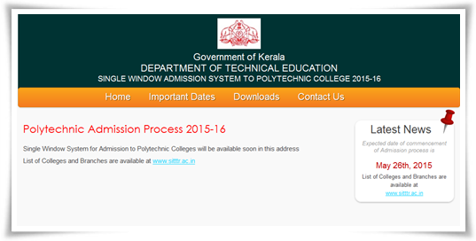 Kerala Polytechnic Admission 2015-16 Online Registration Details