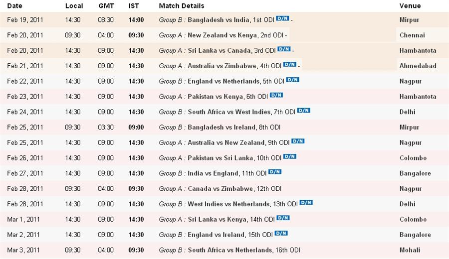 Warld Cup Creket Time Table   New Calendar Template Site
