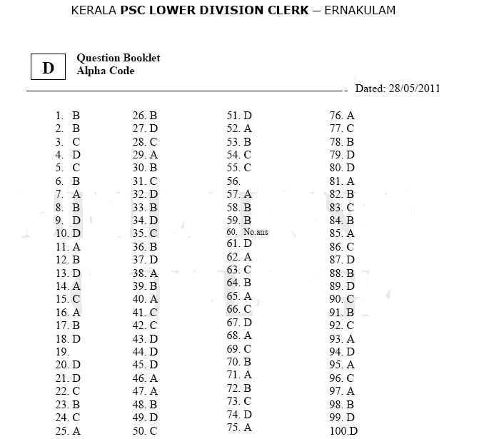 Kerala PSC LDC Ernakulam 2011 Question Paper and Answer keys