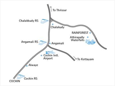 a rout map to athirappilly