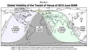 Visibililty of Venus transit 2012