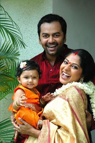 malayalam film actor indrajith with his wife poornima and child